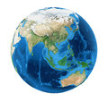 Earth Globe Asia View Isolated Royalty Free Stock Photo