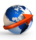 Earth globe communication with arrow sign clipping path included Stock Photography