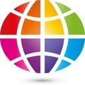 Earth globe or earth in color, earth globe and multimedia logo