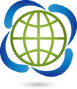 Earth globe and four water drops, energy and environmental logo