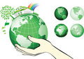 Earth globe in hands protected. Stock Image