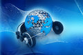 Earth globe with headphones Royalty Free Stock Photo