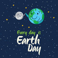Earth globe high five with moon. Vector cartoon card Royalty Free Stock Photo