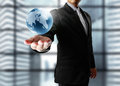 Earth globe in his hands Royalty Free Stock Photo