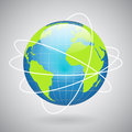 Earth globe icon with global technology or social connection network concept vector illustration Royalty Free Stock Images