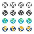 Earth and globe icon set Royalty Free Stock Photo