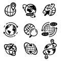 Earth globe icon set. Isolated flat world map Royalty Free Stock Photo