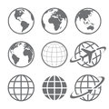 Earth globe Icon set Royalty Free Stock Photo