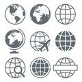 Earth Globe Icon Set Round - Vector Illustration Royalty Free Stock Photo