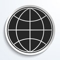 Earth Globe Icon on White Plate. Royalty Free Stock Photo