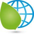 Earth globe and leaves, earth globe and ecology logo