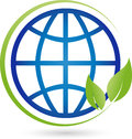 Earth globe and leaves, plant, ecology and earth logo