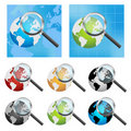 Earth globe and magnifier Royalty Free Stock Photo