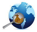 Earth globe and magnify glass searching for gold Royalty Free Stock Images