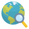 Earth Globe with Magnifying Glass Flat Icon Royalty Free Stock Photo
