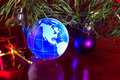 Earth globe North America Christmas background Royalty Free Stock Photo