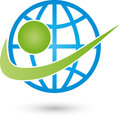 Earth globe and person, transportation and business logo