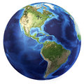 Earth globe, realistic 3 D rendering. Americas view. (Source map Royalty Free Stock Photo