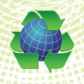 Earth globe and recycling arrows symbols Stock Photos