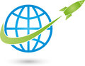 Earth globe and rocket, transportation and business logo