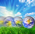 Earth globe rolling on green grass Royalty Free Stock Image