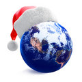 Earth globe and santa hat Royalty Free Stock Photo