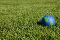 Earth globe showing USA in green grass Royalty Free Stock Image
