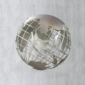 Earth globe in steel frame structure focused on asia d Stock Image