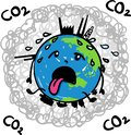 Earth globe suffering under global warming melting away in midst of carbon dioxide - hand drawn vector cartoon