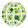 Earth Globe symbol with environmental icons Royalty Free Stock Photo