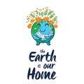 Earth globe vector cartoon card Royalty Free Stock Photo