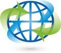 Earth, globe, world globe, arrows, logo Royalty Free Stock Photo