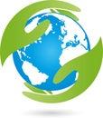 Earth, globe, world globe and hand, earth logo Royalty Free Stock Photo