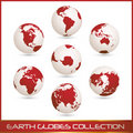 Earth globes colection, white - red Royalty Free Stock Photography