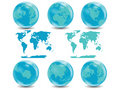 Earth Globes collection with World map Royalty Free Stock Image