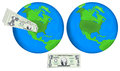 Earth globes and dollars Royalty Free Stock Photo