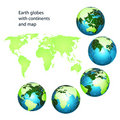 Earth globes with green continents Royalty Free Stock Photo