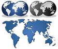 Earth globes over continents Royalty Free Stock Photo