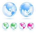 Earth globes set the collection of different glass Royalty Free Stock Photography