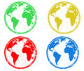 Earth globes stamps Royalty Free Stock Photo