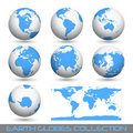 Earth globes, white-blue Royalty Free Stock Images