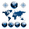 Earth globes with world map Stock Image