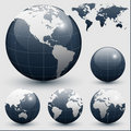 Earth globes with world map Stock Images