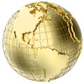 Earth in Gold Metal isolated on white Royalty Free Stock Images
