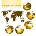 Earth golden globes with map Royalty Free Stock Photo