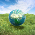 Earth in a green field of grass realistic Stock Photos