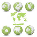 Earth Green Globes collection with World map Stock Photos