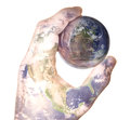 Earth hand holding west globe with face reflection western world in view mans reflecting back Stock Photo