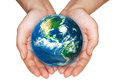Earth in hands on a white background elements of this image furnished by nasa Stock Photo