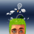 Earth head man with landscape on his and idea rocket Stock Photography